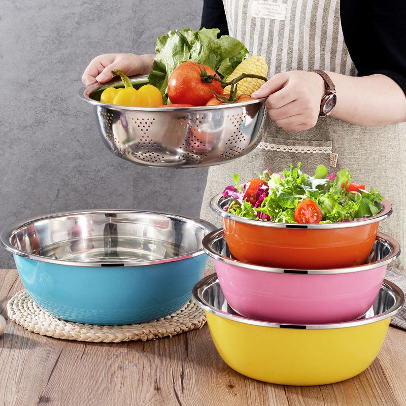 苏兴不锈钢五件套彩色圆形加厚加深厨房洗菜盆套装汤盆打蛋和盆