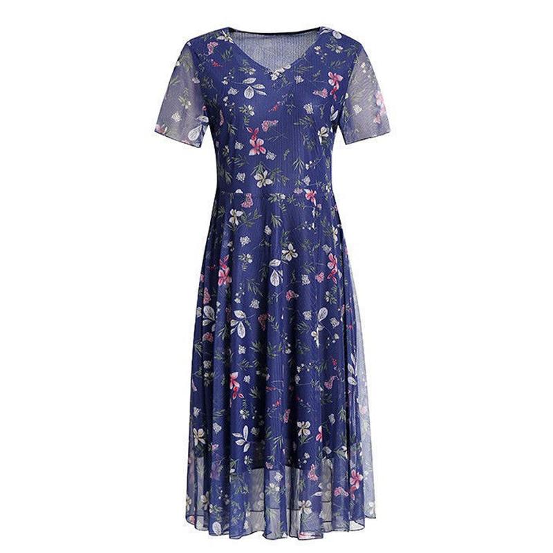 弹力网纱碎花连衣裙短袖妈妈大码女装长裙子