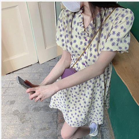 2021夏季新款女装奶油香芋肌理连衣裙