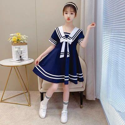 女童连衣裙2021夏季新款韩版洋气海军领裙子中大儿童装网红公主