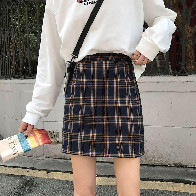 巧巧/格子a字裙半身裙女学生韩版高腰包臀