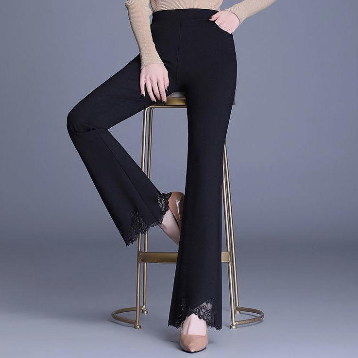 裤喇叭裤蕾丝边裤子女韩版弹力显瘦九分长裤