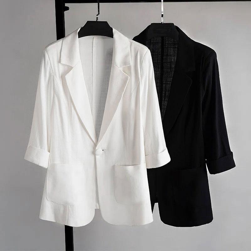 冰丝小西装外套女春秋宽松休闲套装黑色西服