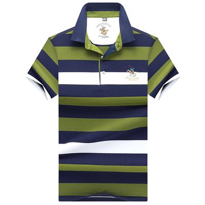 Mùa hè nam ngắn tay t-shirt nam kinh doanh sọc ve áo t-shirt nửa tay áo cotton lụa chì POLO áo sơ mi áo thun nam có cổ lacoste Polo