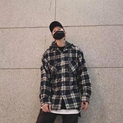 A神不在纽约 假两件加绒带帽格子衬衫男女高街铁环衬衣外套潮MAMC