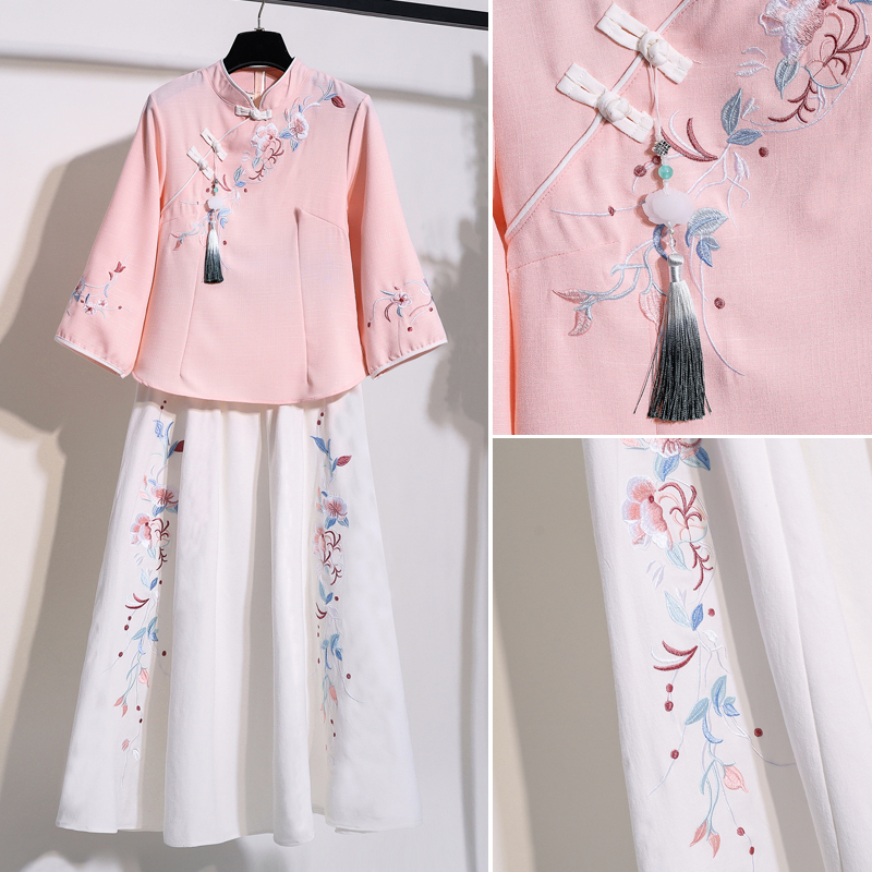 Chinese style retro style women's Tang suit suit girl Republican style buckle cheongsam top improved Hanfu two-piece suit