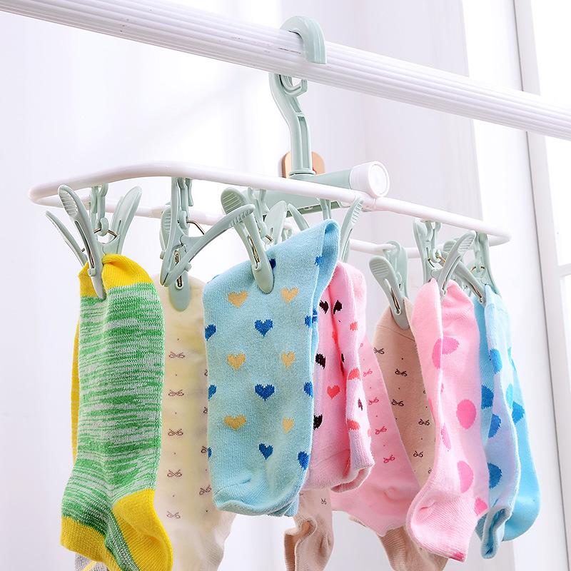 架防风挂钩卡扣内衣袜子架可折叠12夹塑料晾晒多功能内衣