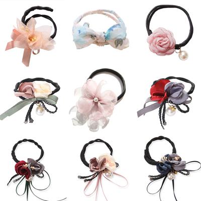 韩国头发饰发绳珍珠蝴蝶结碎花丸子头盘发器造型工具花苞头工具