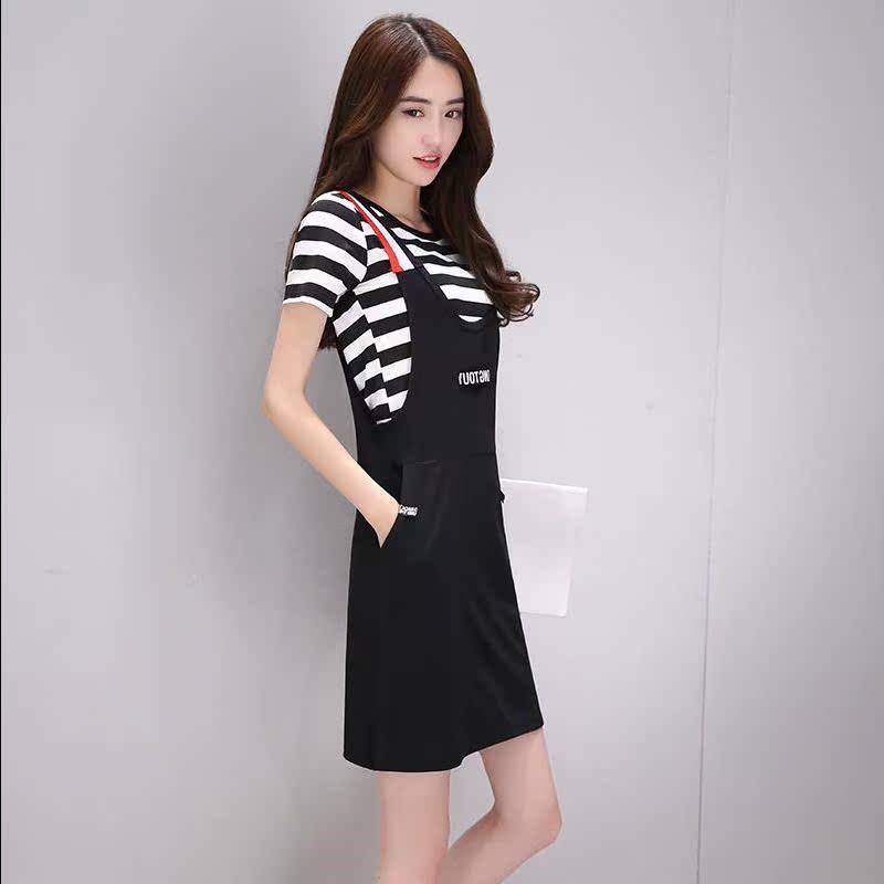 女装短袖两件套连衣裙修身显瘦大码中长款吊带裙套装t恤背带裙女