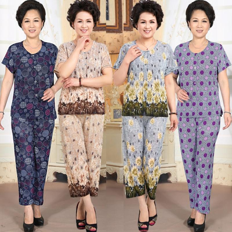 Trung niên và người già mùa hè phù hợp với phụ nữ ngắn tay mẹ ăn mặc quần áo mùa hè 70 tuổi 60 tuổi 80 bà ngoại