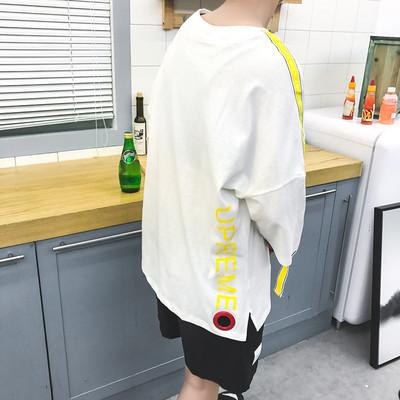 Mùa hè lỏng lẻo năm điểm tay áo T-Shirt nam dài tay 7 điểm Hàn Quốc phiên bản của bảy điểm tay áo trong tay áo xu hướng chất béo ngắn tay quần áo ao thun nam dep Áo phông dài