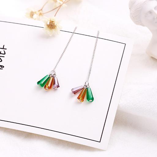 简约三颗彩色水晶长款耳坠纯银耳环女气质韩国个性百搭耳饰品