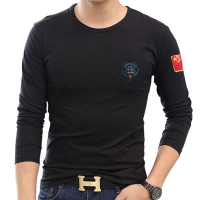 2017 mùa thu đồng phục thêu cờ Trung Quốc nam dài tay fan quân đội dài tay slim wolf head quần áo lực lượng đặc biệt t-shirt áo polo nam uniqlo Áo phông dài
