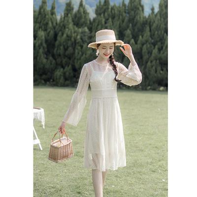 秋季新款很仙的法式复古甜美网纱蕾丝两件套收腰显瘦连衣裙女