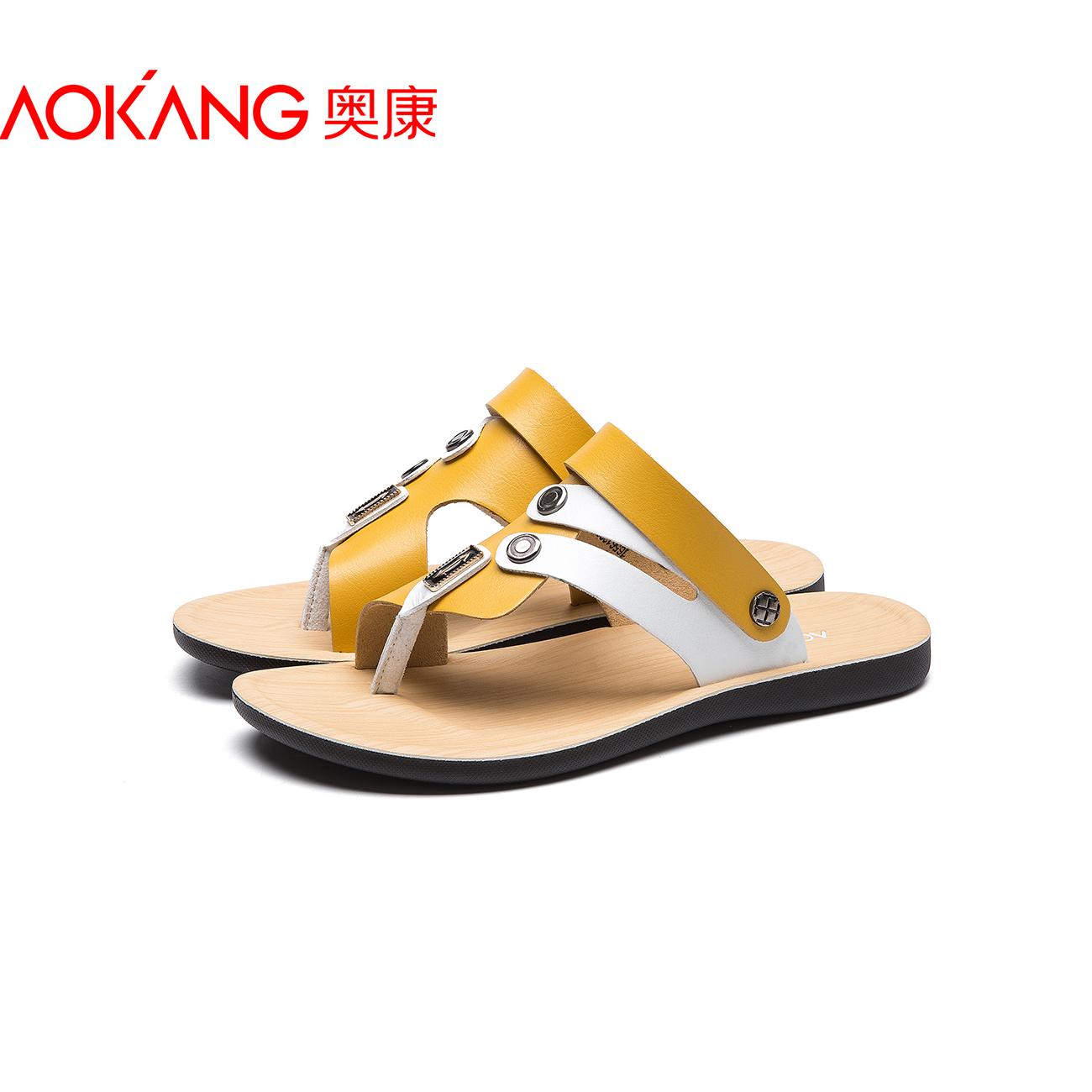 奥康凉鞋男2018新款夏季凉皮鞋真皮透气户外休闲鞋软底男士沙滩鞋