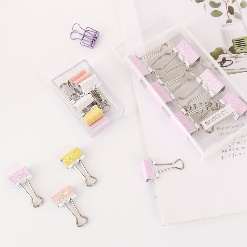 创众 渐变彩色长尾夹小清新办公收纳文具可爱票夹创意夹子
