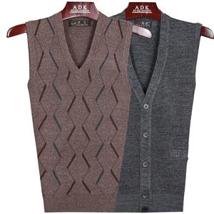 Người đàn ông trung niên vest vest mùa thu và mùa đông cha mặc v- cổ dệt kim áo len cũ người đàn ông len vest