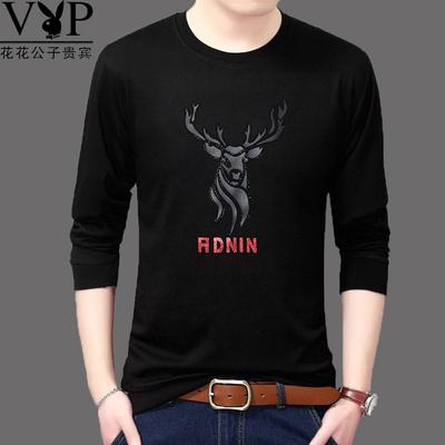 Dài tay T-Shirt nam in màu rắn vòng cổ từ bi nam thanh niên của Hàn Quốc phiên bản của chiếc áo Mỏng mua áo thun nam Áo phông dài