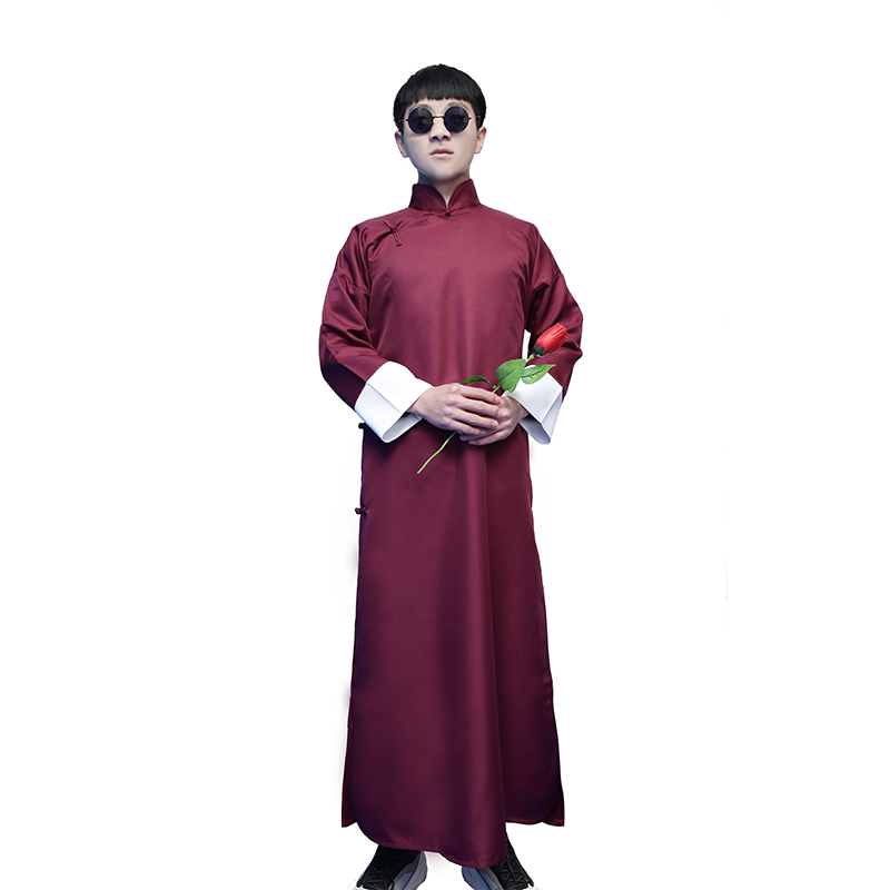 Chinese style groomsmen dress wedding brothers group dress Tang suit Chinese style horse gown cross talk robe retro Republican costume men