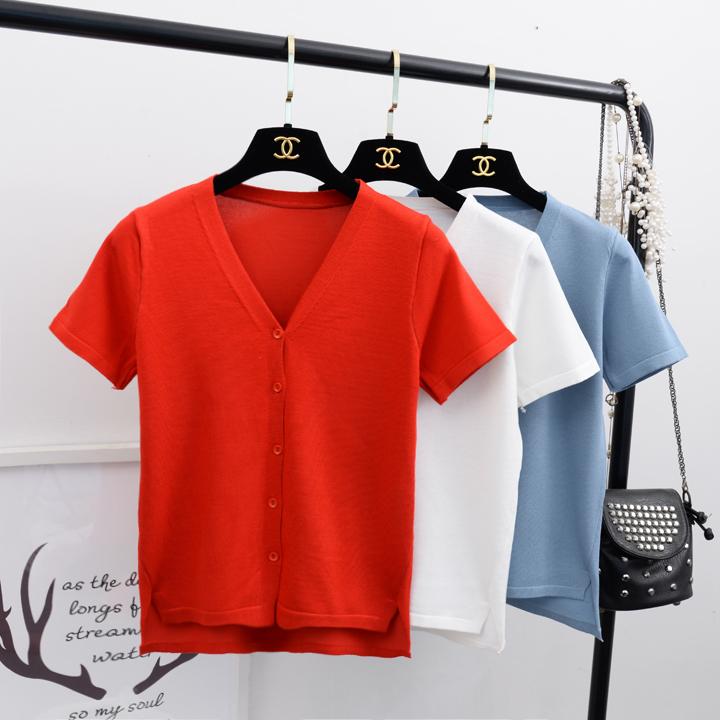 Flushing Han phong cách Chic tính khí V-Cổ ngắn tay áo len nữ mùa hè màu rắn đơn giản loose ins siêu lửa áo sơ mi mỏng