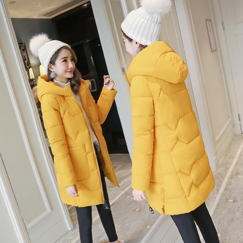 [Chống mùa khuyến mãi] bông của phụ nữ Hàn Quốc phiên bản mới của mùa đông phần dài của bông đội mũ trùm đầu dày mỏng bánh mì áo khoác bông áo khoác Bông