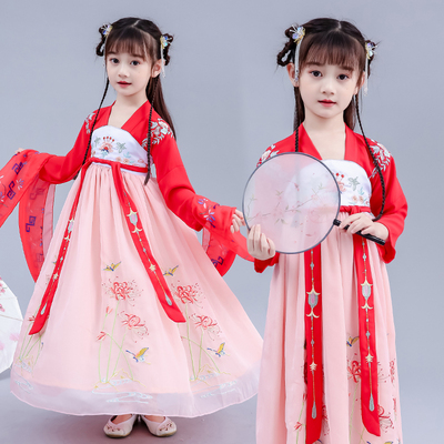 children's costume Hanfu girl summer dress cherry blossom princess skirt fairy fairy super fairy Chinese style dress spring and autumn