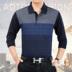 Mùa thu người đàn ông trung niên ve áo dài tay T-Shirt cha túi t-shirt người đàn ông trung niên của lỏng kích thước lớn t-shirt áo phông nam cao cấp Áo phông dài