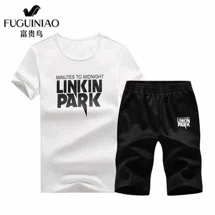 富贵鸟男夏季套装时尚休闲两件套新款夏装韩版潮流短袖T恤男