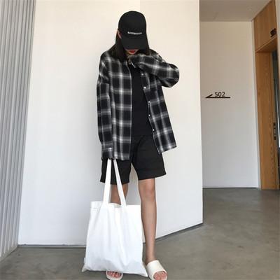 春装新款宽松黑白格子衬衫女长袖学生复古百搭chic上衣潮
