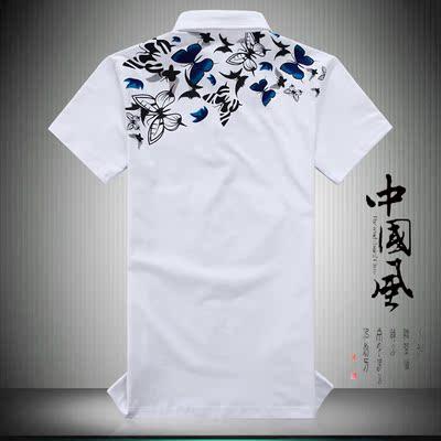 Của nam giới Trung Quốc phong cách ve áo ngắn tay T-Shirt bướm in nửa tay áo cộng với chất béo cơ thể lớn của nam giới mùa hè POLO áo sơ mi áo cộc tay Áo phông ngắn