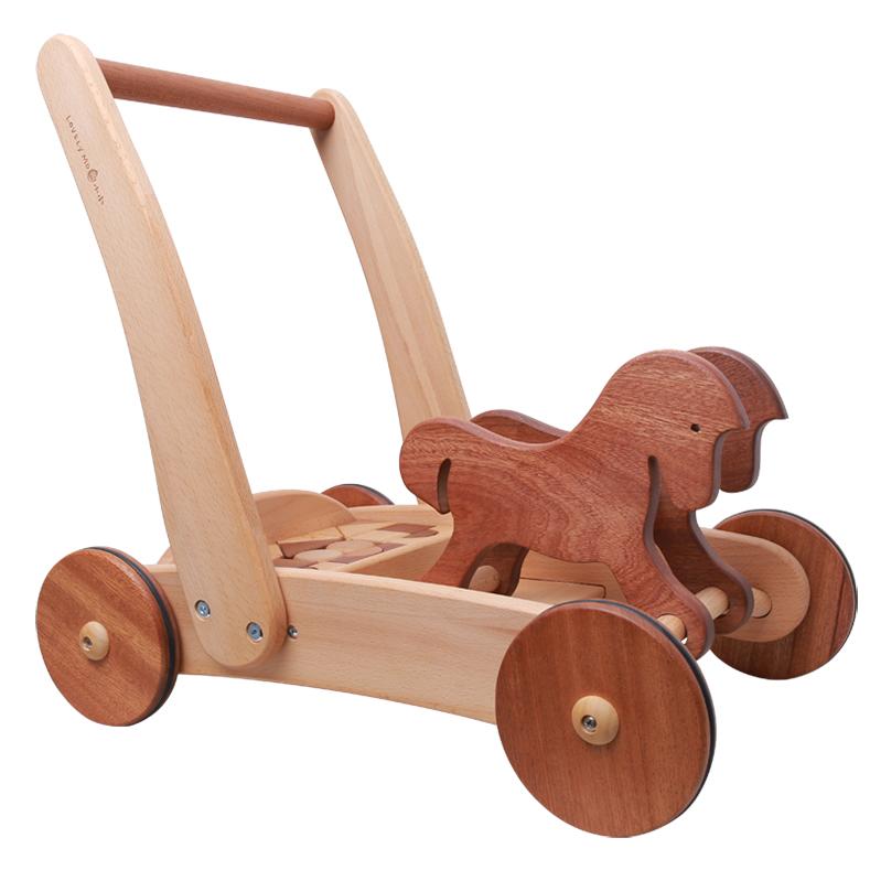 墨小小婴儿多功能木质学步手推车