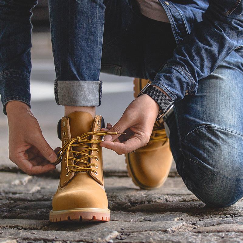 马登冬季马丁靴男靴工装短靴子厚底大头男鞋踢不烂防水大黄靴潮