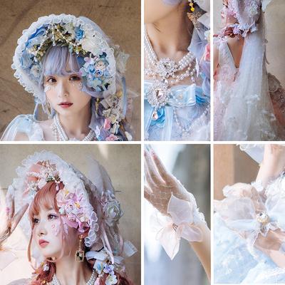 taobao agent Sakura girl original lolita hand-made headdress tea party flower marriage bnt flat hat Bonnet BB hat spot headband