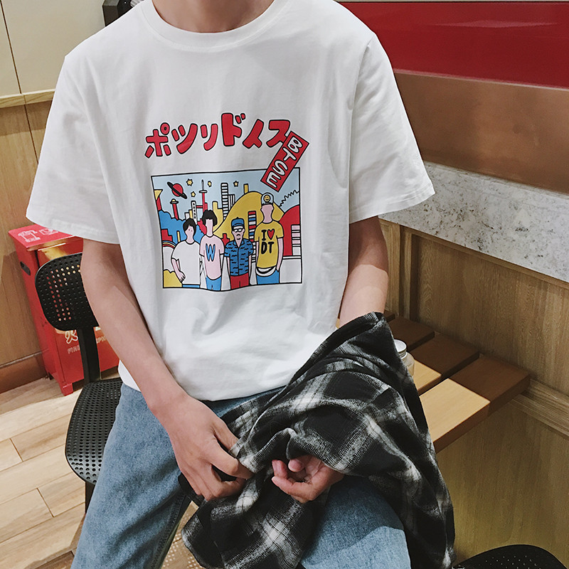 Mùa hè mới ngắn tay nam hoang dã t-shirt vòng cổ Hàn Quốc phiên bản của xu hướng của nam giới nửa tay áo sơ mi ins quần áo sinh viên triều