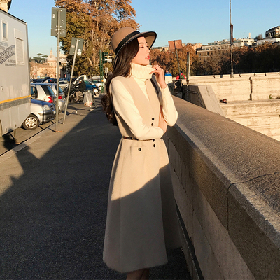 Ruthen vest nữ mùa thu và mùa đông 2018 mới phần dài Hàn Quốc phiên bản của eo là mỏng không tay nữ xuống áo khoác Accentuated eo áo