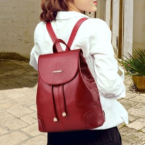 新款包包软皮百搭双肩包女小清新书包潮韩版时尚休闲简约女士背包