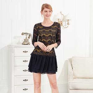 JUZUI của phụ nữ thời trang Mall của phụ nữ ren mở cổ xếp li váy đầm