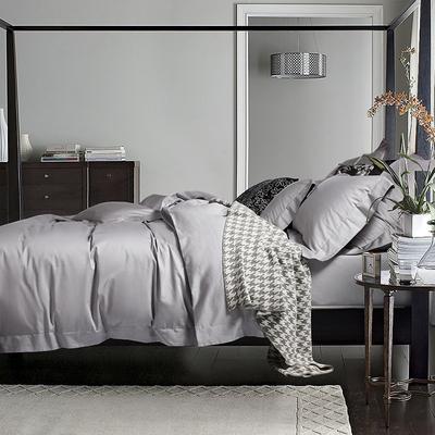100支纯棉四件套全棉欧式长绒棉纯色简约1.8床上用品美式被套床单