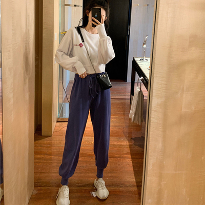 Autumn new little two-piece outfit short paragraph sweater + beam leg fashion casual pants suit female ins