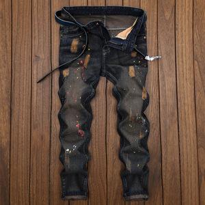 新款歐美潮款高街男士修身小直腳時尚百搭個性男式中腰長褲潮