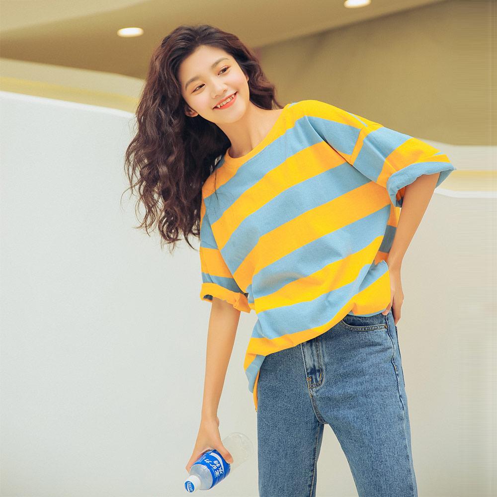实拍1050#韩版宽松大码撞色粗条纹短袖落肩中长款T恤