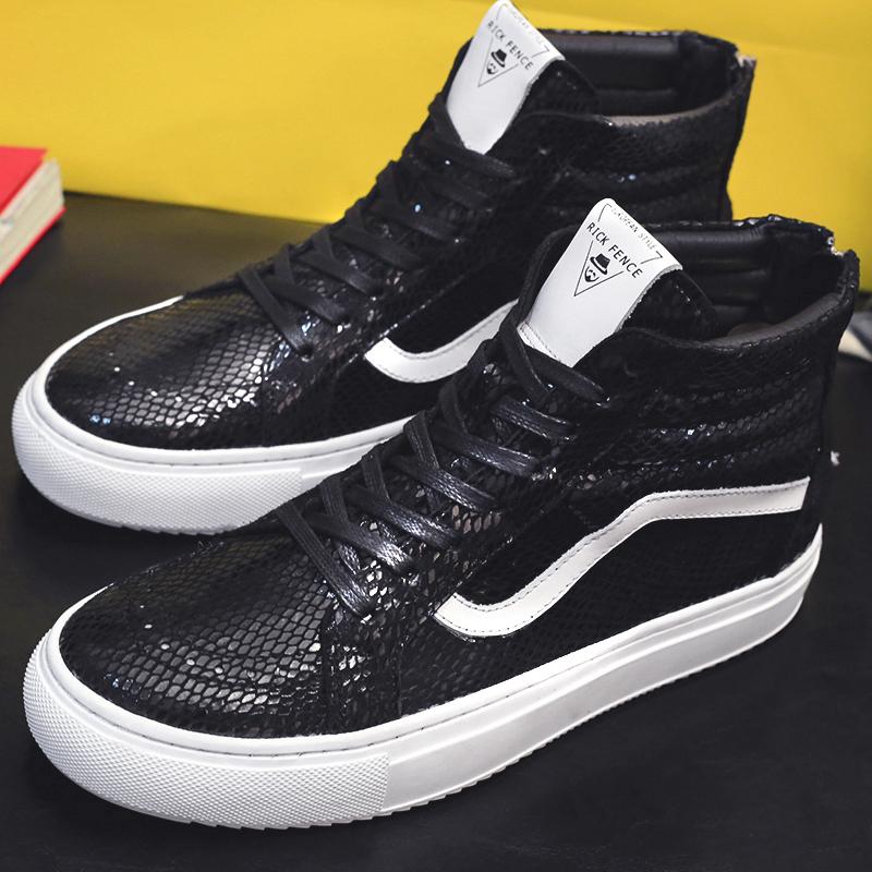 Mùa đông mới giày thủy triều hoang dã giày nam Giày da Hàn Quốc dây kéo cao cấp giày cao cổ giày giày đôi nam giản dị - Giay cao