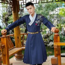8035实拍 改良刺绣青龙男女通款传统汉服明制曳撒箭袖外套风衣