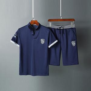 Thoáng khí ngắn tay t thể thao phù hợp với nam giới mùa hè cotton phần mỏng Slim thanh niên V-Cổ quần mặc giản dị xu hướng cao cấp