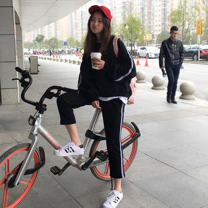 2019春夏韩版潮流运动休闲套装时尚薄款卫衣上衣+长裤学生两件套