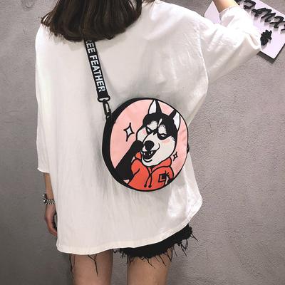 搞怪斜挎小包女夏ins超火日系个性街拍单肩小圆包可爱帆布包