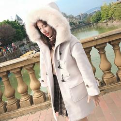 2017冬韩版女连帽毛领牛角扣毛呢子外套中长款大衣学生加厚矮个子淘宝优惠券