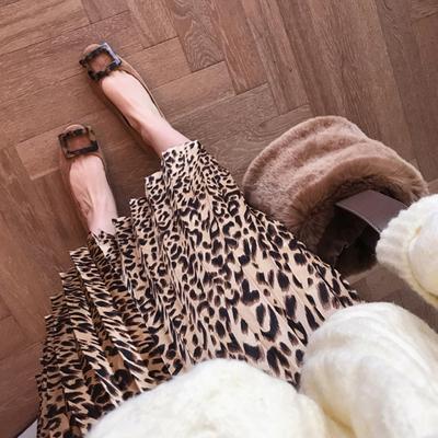 mimius定制春装新款复古显瘦松紧腰豹纹百褶裙半身裙
