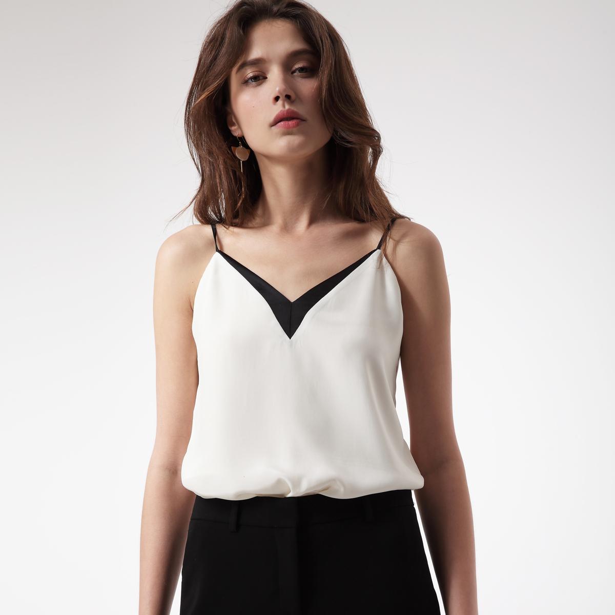 【芥末JEMO】真丝V领拼色桑蚕丝纯色白色性感吊带背心上衣女