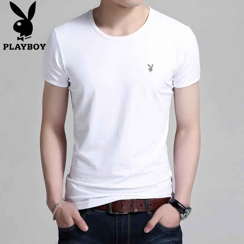 Playboy vòng cổ ngắn tay T-Shirt nam mùa hè màu rắn nam màu trắng của người đàn ông từ bi phương thức bông áo sơ mi nam